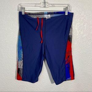 Speedo Endurance Swim Shorts Blue Red 34